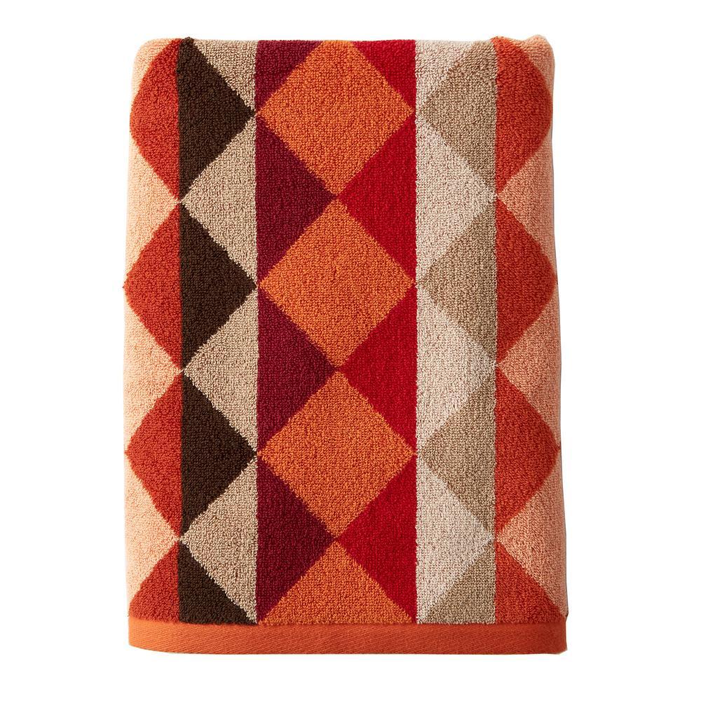 Diamonds Orange Geometric Cotton Fingertip Towel (Set of 2)