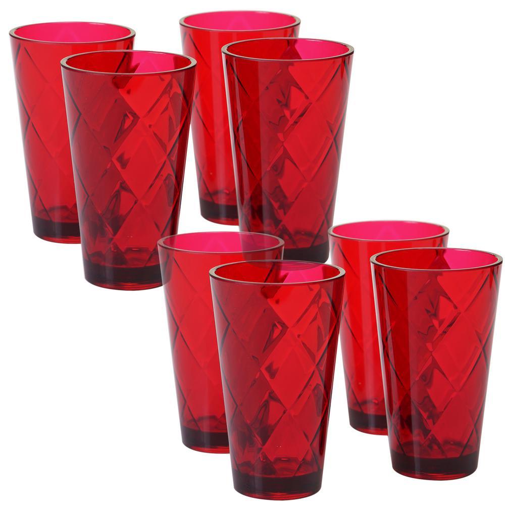 Ruby 20 oz. 8-Piece Acrylic Ice Tea Glass