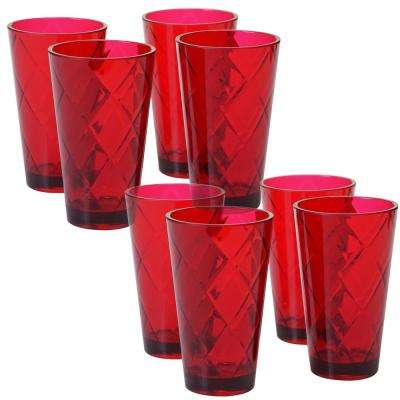 Ruby 20 oz. 8-Piece Acrylic Ice Tea Glass