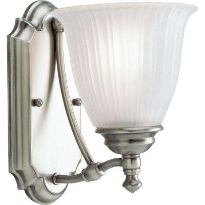 Renovations Collection 1-Light Antique Nickel Bath Sconce with Etched Glass Shade