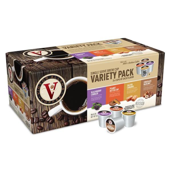 Victor Allen's Variety Pack Assorted Flavored Coffee Single Serve Cups (96-Pack)