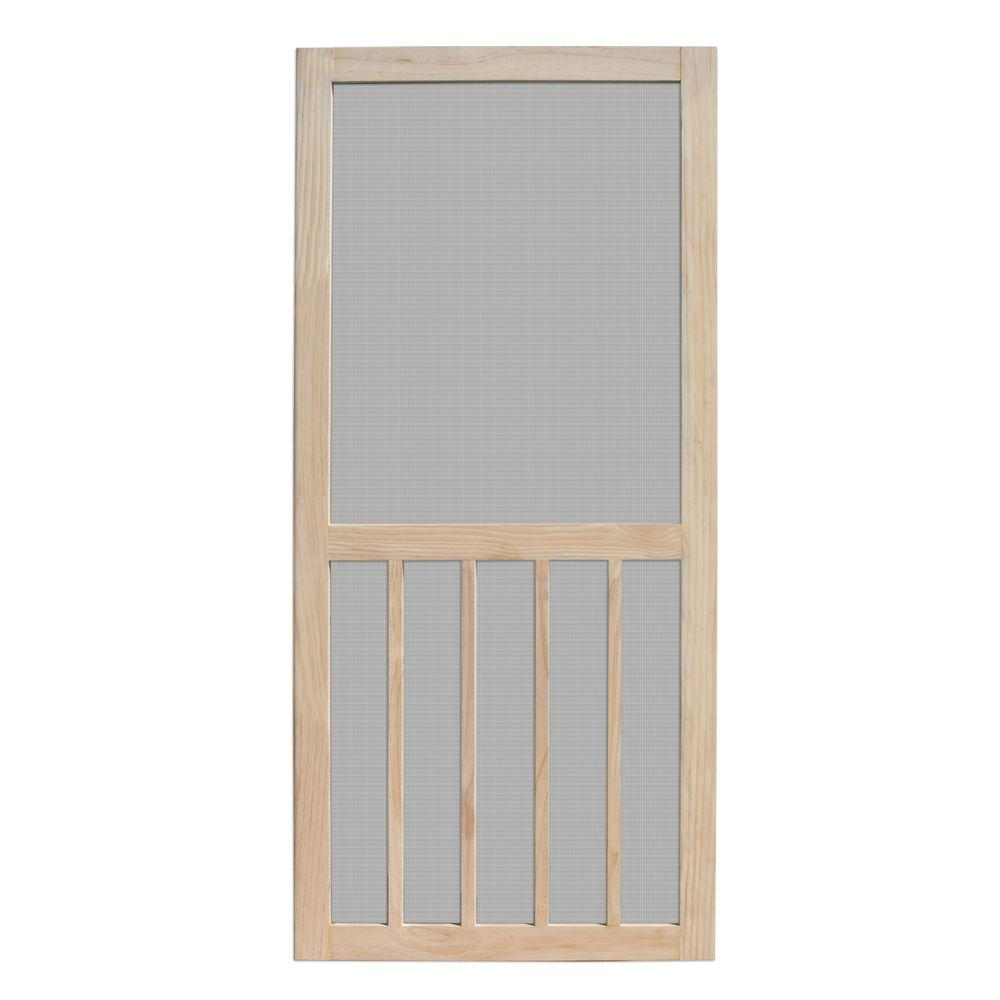 Unique home designs 30 in x 80 in aspen unfinished pine for Screen doors for front door