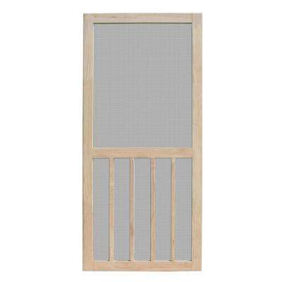 30 in. x 80 in. Aspen Unfinished Pine Outswing Wood Hinged Screen Door