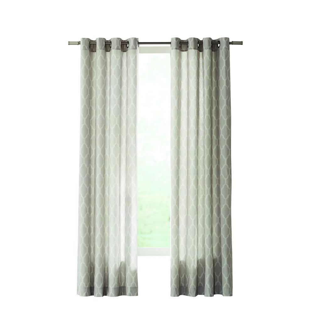 Home Decorators Collection Semi Opaque Gray Modern Lattice Curtain 50 In W X 84 In L