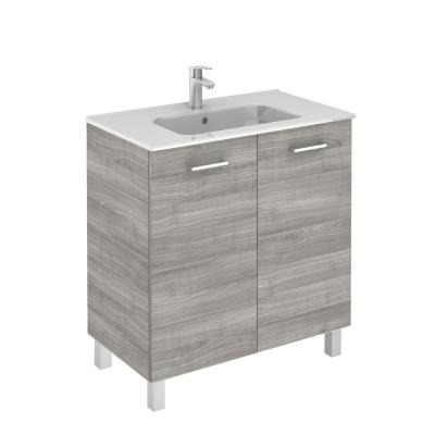 Logic 31.5 in. W x 18.0 in. D x 33.0 in. H Bath Vanity in Sandy Grey with Vanity Top and Ceramic White Basin