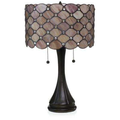 Contemporary Tiffany 22 in. 2-Light Rose Jeweled Table Lamp
