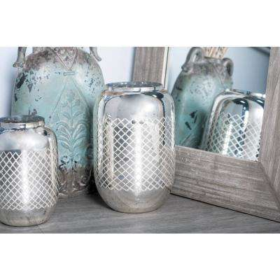 14 in. Silver Crisscross-Patterned Cylindrical Glass Candle Holder