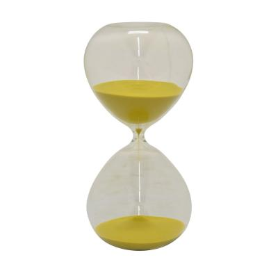 Glass Sand Timer - 90min in Yellow Glass 5in L x 5in W x 14in H