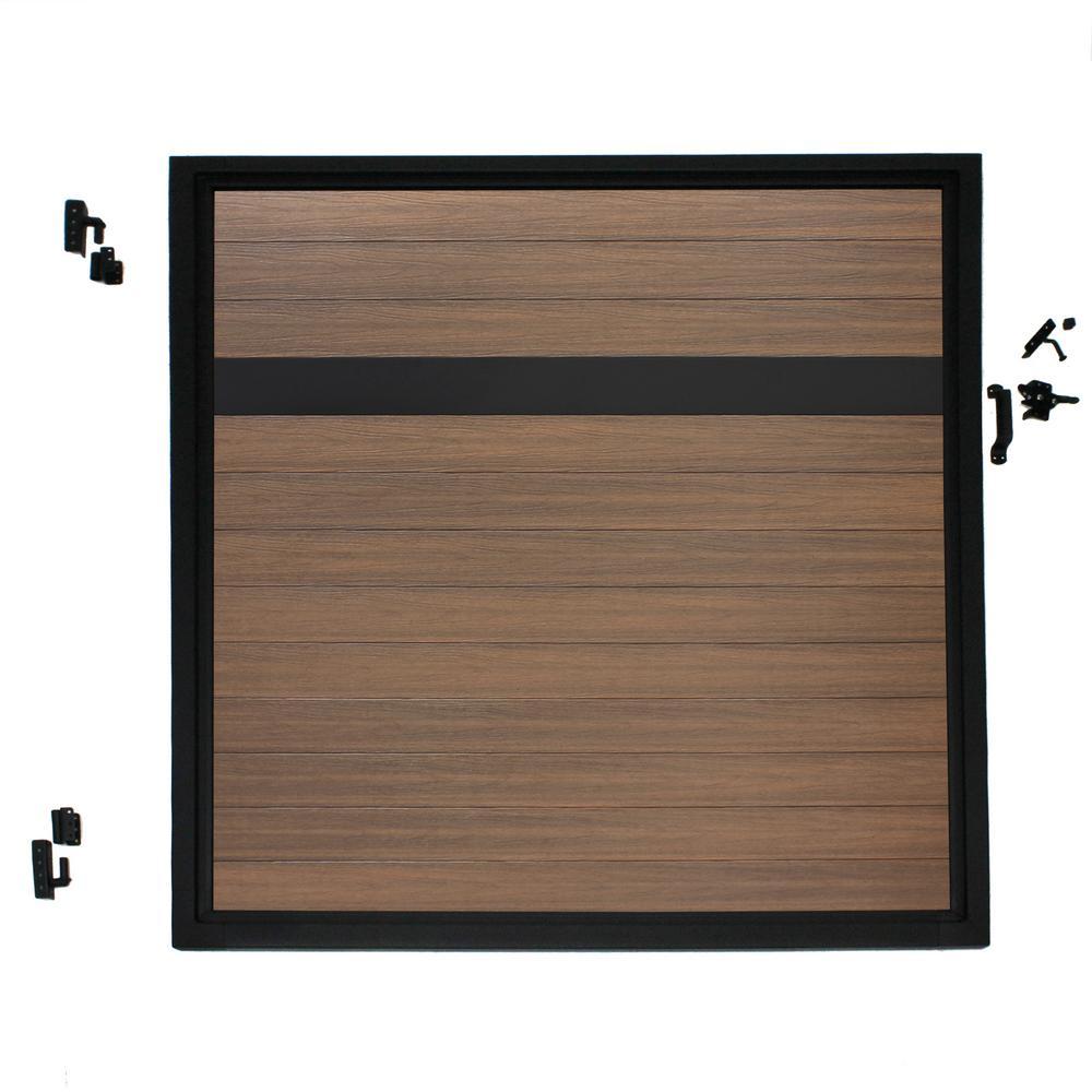 Euro Style 4 ft. W x 4 ft. H Black Top King Cedar Aluminum/Composite Adjustable Fence Gate