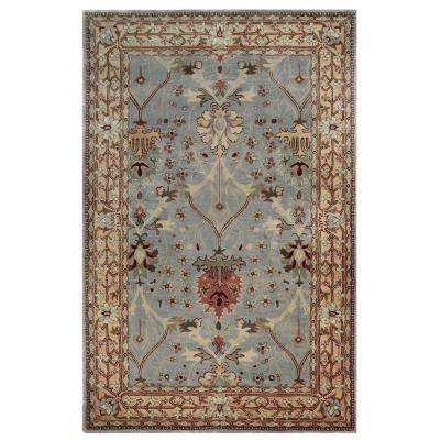 Rosedown Collection Ice Blue and Beige 1 ft. 10 in. x 2 ft. 10 in. Indoor Area Rug