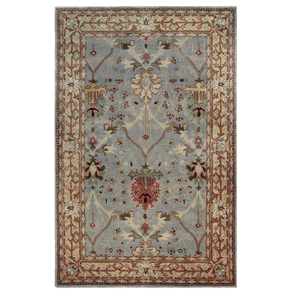 Rosedown Collection Ice Blue and Beige 8 ft. x 10 ft.