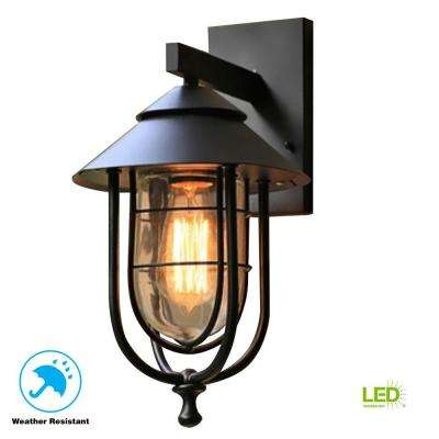 Wisteria Collection 1-Light Sand Black Medium Outdoor Wall Mount Sconce with Clear Glass Shade