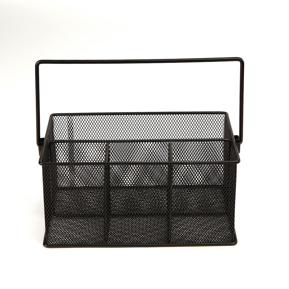 Mind Reader 4 Compartment Mesh Storage Basket Organizer With Handle Black