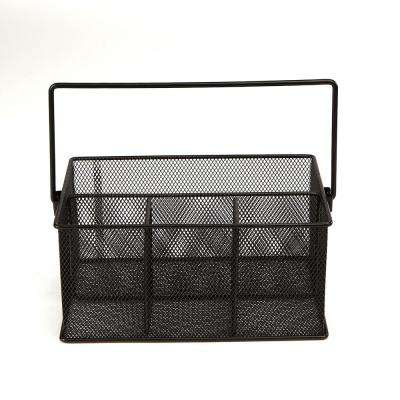 4-Compartment Mesh Storage Basket Organizer with Handle, Black