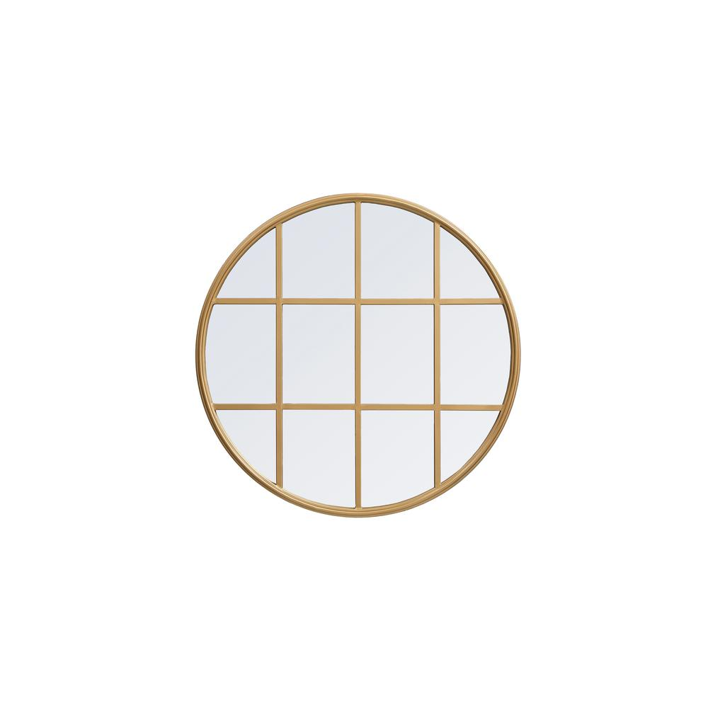 Timeless Home 28 in. H x 28 in. W Mid-Century Modern Round Framed Brass Metal Wall Mirror