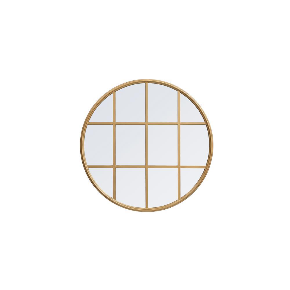 Medium Round Brass Contemporary Mirror (28 in. H x 28 in. W)