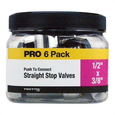1/2 in. Chrome-Plated Brass Push-to-Connect x 3/8 in. O.D. Compression Quarter-Turn Straight Stop Valve Jar (6-Pack)