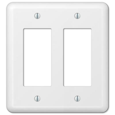 Declan 2 Gang Rocker Steel Wall Plate - White