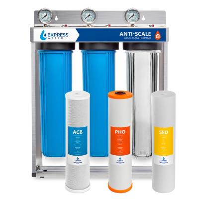 Whole House Water Filter – 3 Stage Anti Scale Home Water Filtration System – Sediment, Phosphate, and Carbon Filters