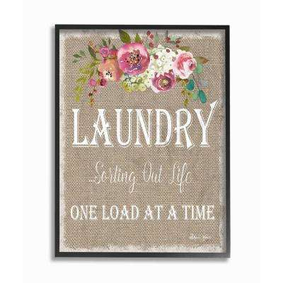 """16 in. x 20 in. """"Floral Linen Laundry Sorting Life"""" by Sheri Hart Printed Framed Wall Art"""