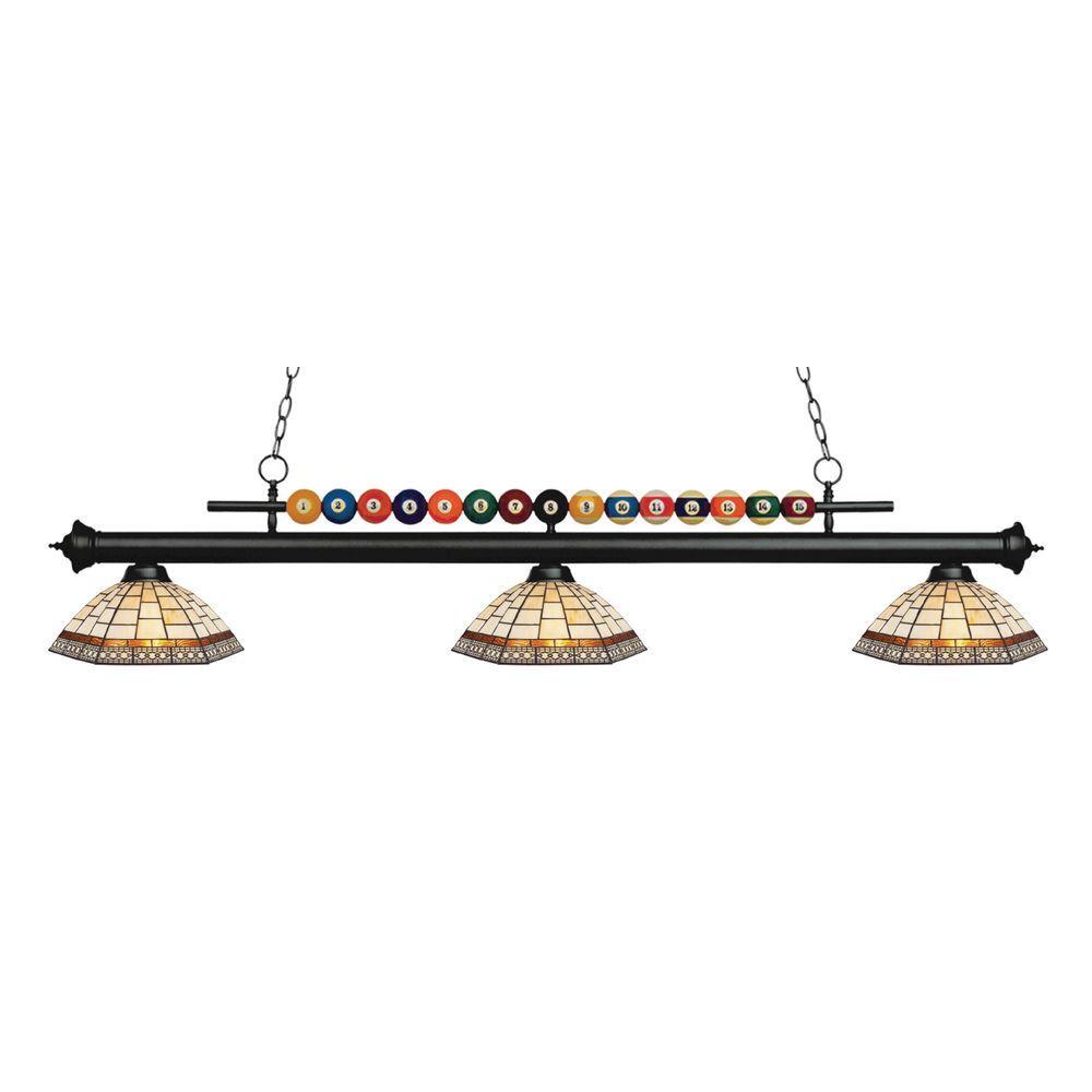 Kerstin 3-Light Matte Black Billiard Light