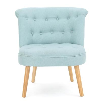 Cicely Tufted Light Blue Fabric Accent Chair