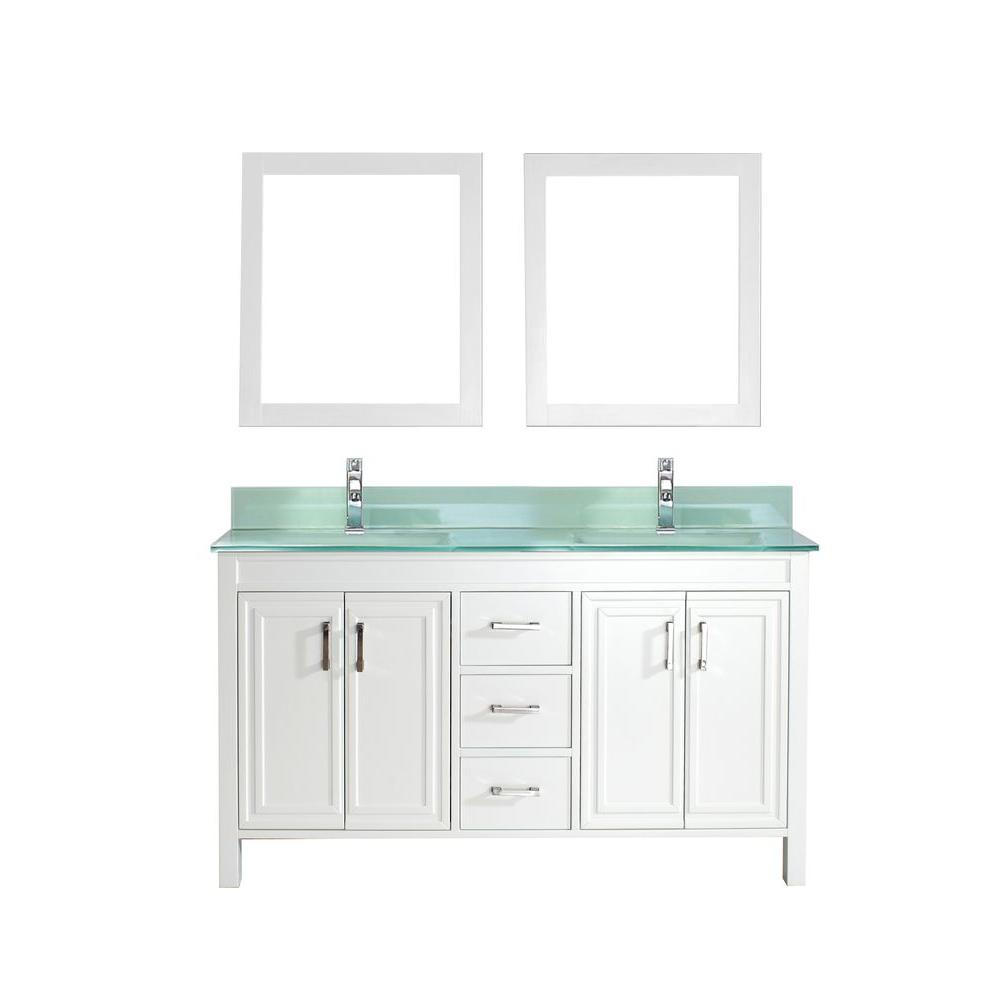 Studio Bathe Dawlish 60 in. Vanity in White with Glass Vanity Top in Mint and Mirror
