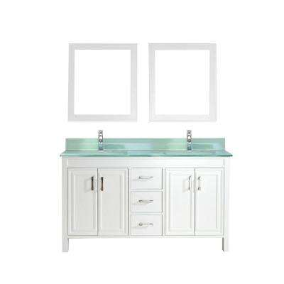 Dawlish 60 in. Vanity in White with Glass Vanity Top in Mint and Mirror
