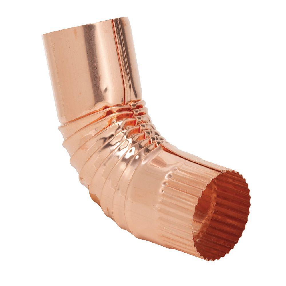 3 in. Half-Round Copper Plain 75 Degree Round Elbow