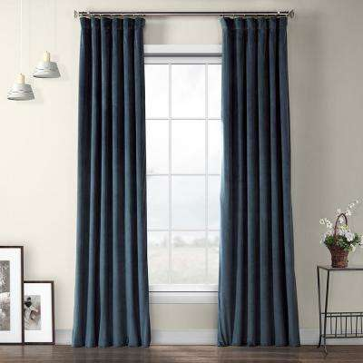 Avalon Blue Plush Velvet Curtain - 50 in. W x 96 in. L