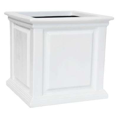 14 in. sq. White Composite Straight Side Panel Planter