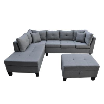 3-Piece Gray Linen 6-Seater L-Shaped Left-Facing Chaise Sectional Sofa with Ottoman