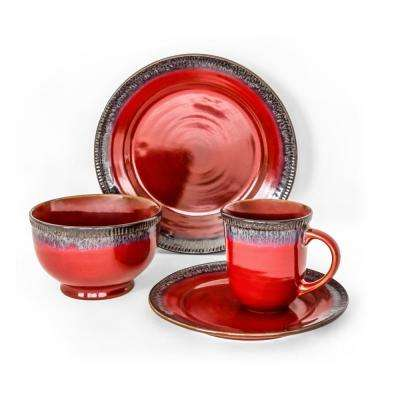 Roots Red 16-Piece Dinnerware Set