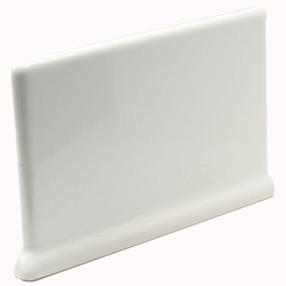 U.S. Ceramic Tile Bright Snow White 4 in. x 6 in. Ceramic Cove Base Left/Right Corner Wall Tile -DISCONTINUED