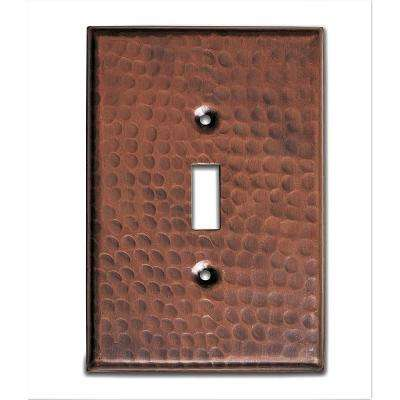Pure Hand Hammered Single Toggle Wall Plate, Copper