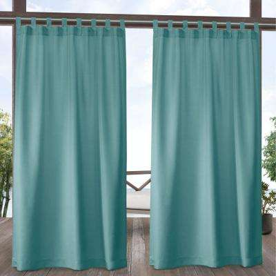 Indoor/Outdoor Solid Cabana Teal Light Filtering Tab Top Curtain Panel 54 in. W x 84 in. L (2 Panels)