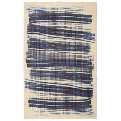 Scratch Contemporary Modern Navy 7 ft. 6 in. x 9 ft. 6 in. Area Rug