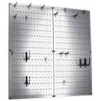 Kitchen Pegboard 32 in. x 32 in. Steel Peg Board Pantry Organizer Kitchen Pot Rack Metallic Pegboard and Black Peg Hooks