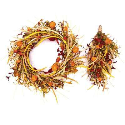 30 in. Unlit Artificial Harvest Chinese Lantern Wreath and 24 in. Door Swag (2-Set)