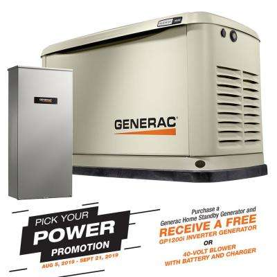 16000-Watt (LP)/16000-Watt (NG) Air-Cooled Standby Generator with Wi-Fi and 16 Circuit 100 Amp NEMA3 Transfer Switch