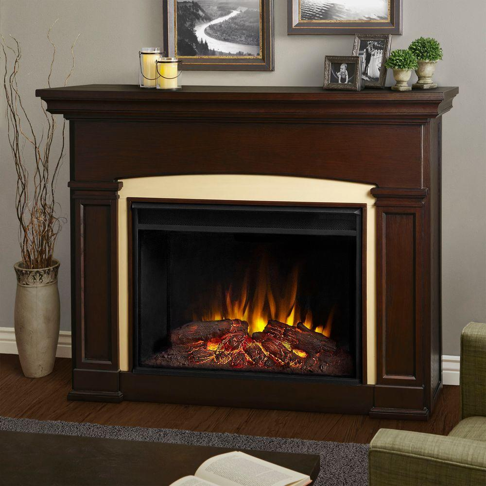 Add a warm touch to your home by using this Real Flame Holbrook Grand Series Electric Fireplace. Includes wooden mantel