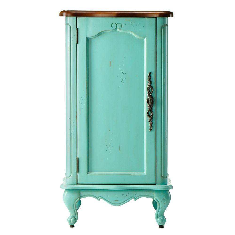 Home Decorators Collection Provence 18 in. W x 34 in. H x 16 in. D Bathroom Linen Storage Floor Cabinet in Blue