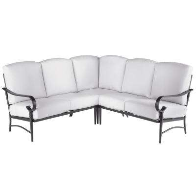 Oak Cliff 3-Piece Brown Steel Outdoor Patio Sectional Sofa with Bare Cushions