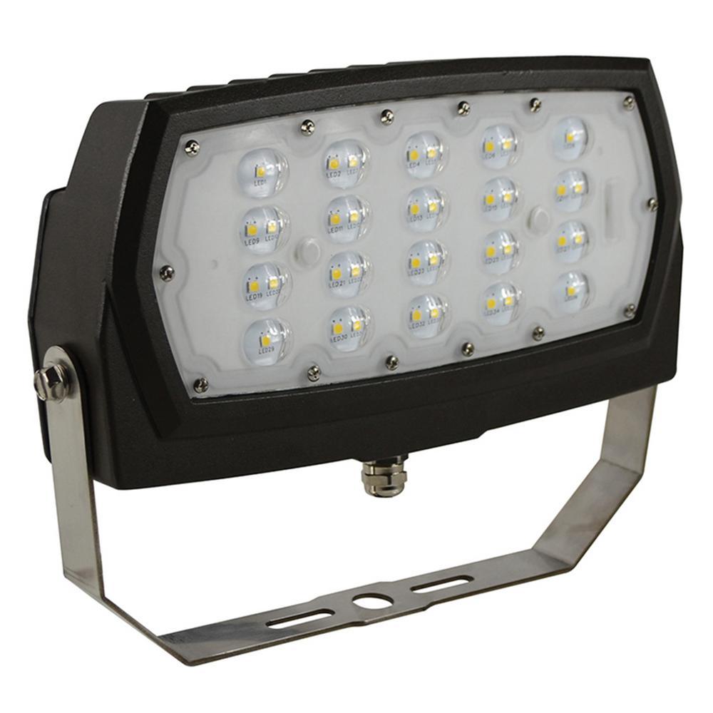 28-Wattt Bronze Outdoor Integrated LED Medium Landscape Flood Light 120-277V Yoke Mount Daylight 5000K 99878