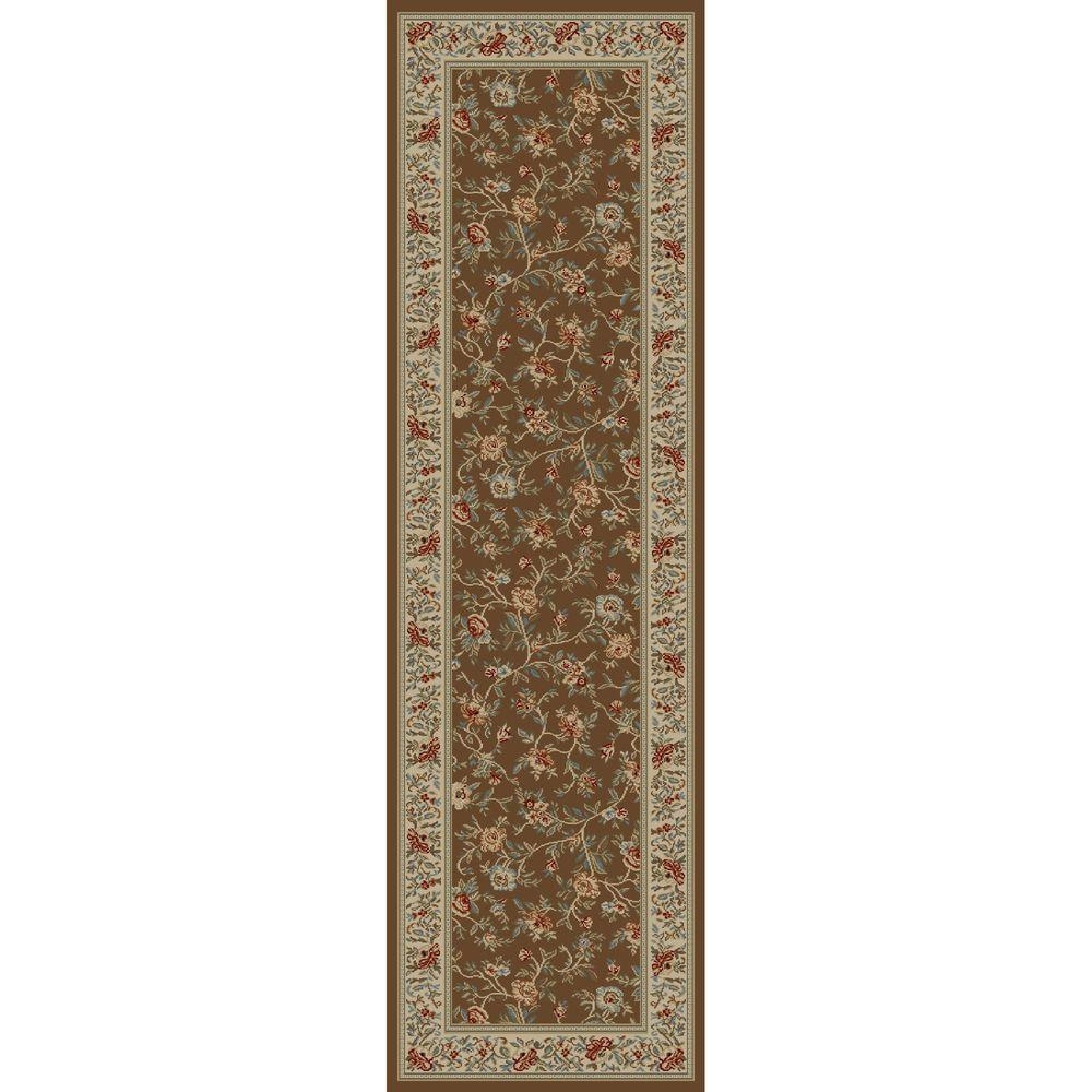 Concord Global Trading Ankara Floral Garden Brown 2 ft. 2 in. x 7 ft. 3 in. Rug Runner