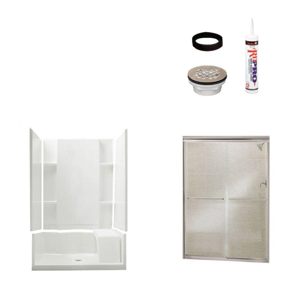 null Accord 36 in. x 48 in. x 74-1/2 in. Shower Kit with Shower Door in White/Nickel-DISCONTINUED
