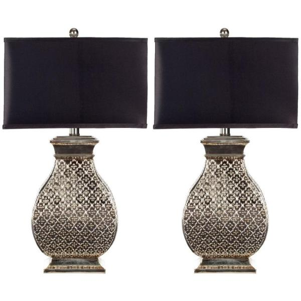 Malaga 30 in. Antique Silver Hammered Metal Table Lamp with Satin Black Shade (Set of 2)