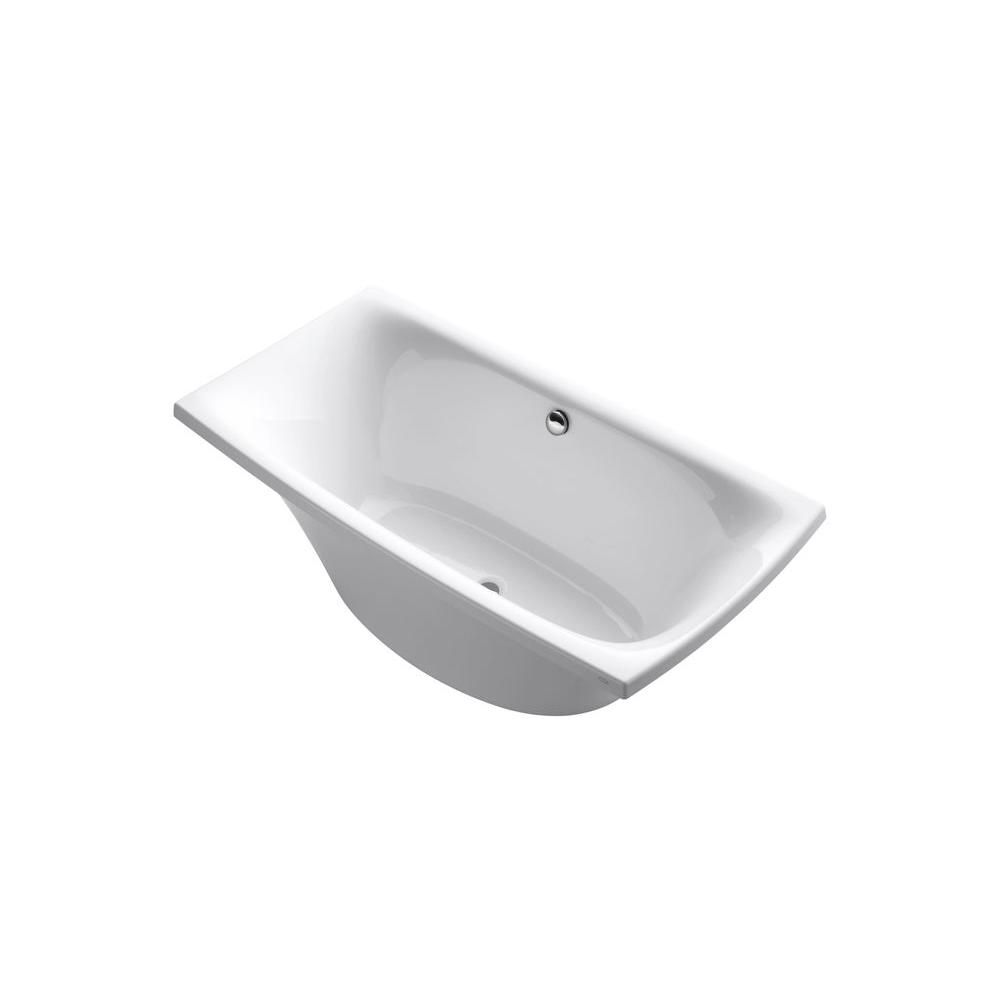 Acrylic Bathtub With Center Drain In White