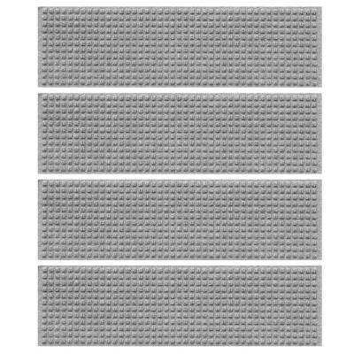 Medium Gray 8.5 in. x 30 in. Squares Stair Tread Cover (Set of 4)