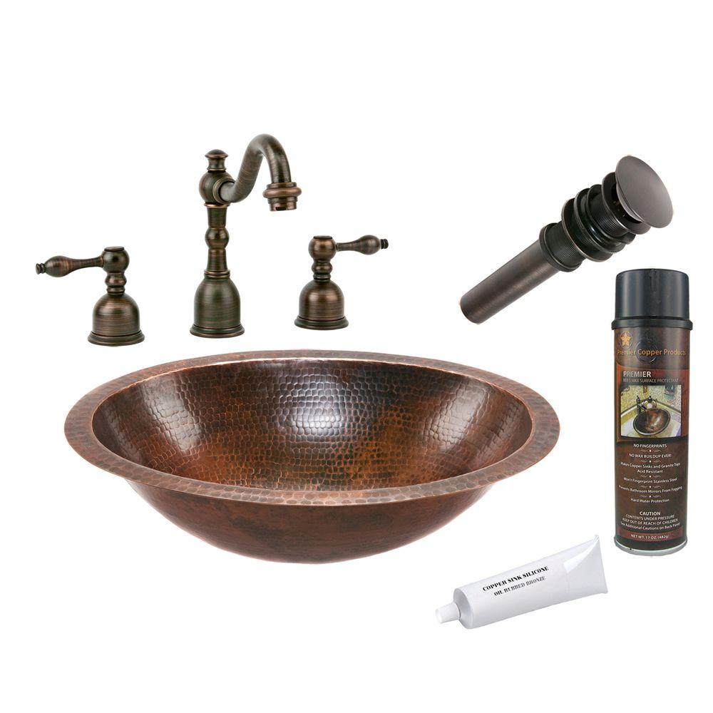 Premier Copper Products All-in-One Oval Under Counter Hammered Copper Bathroom Sink in Oil Rubbed Bronze